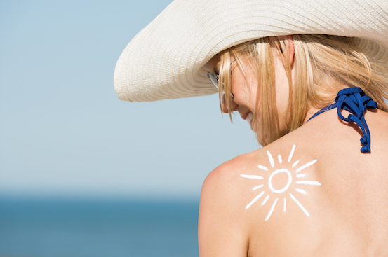 Woman with sunscreen